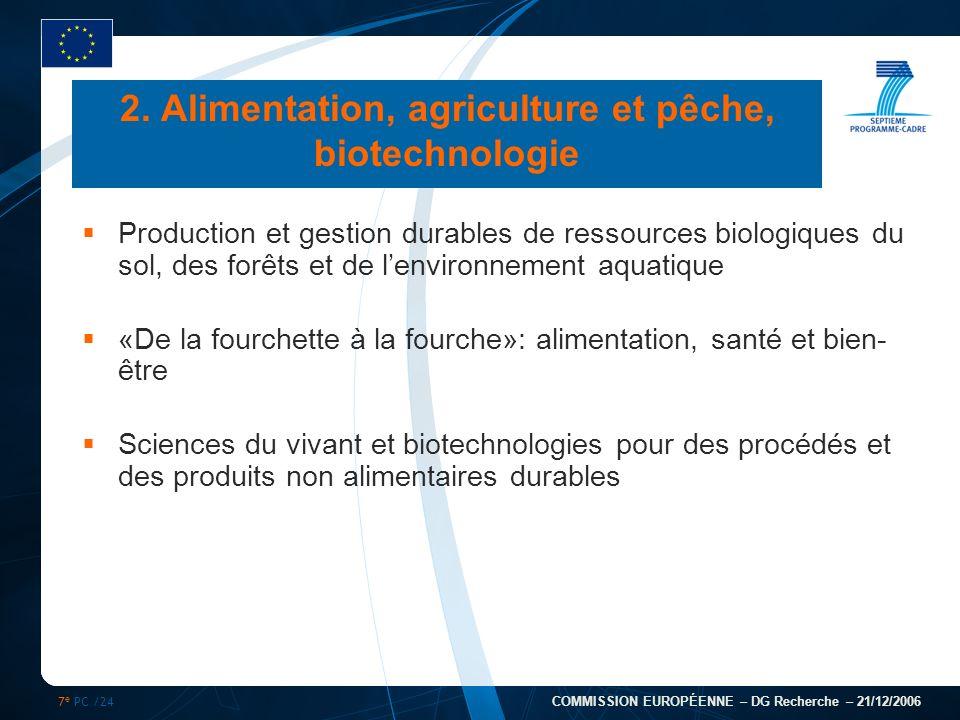 7 e PC /24 COMMISSION EUROPÉENNE – DG Recherche – 21/12/2006 2. Alimentation, agriculture et pêche, biotechnologie Production et gestion durables de r