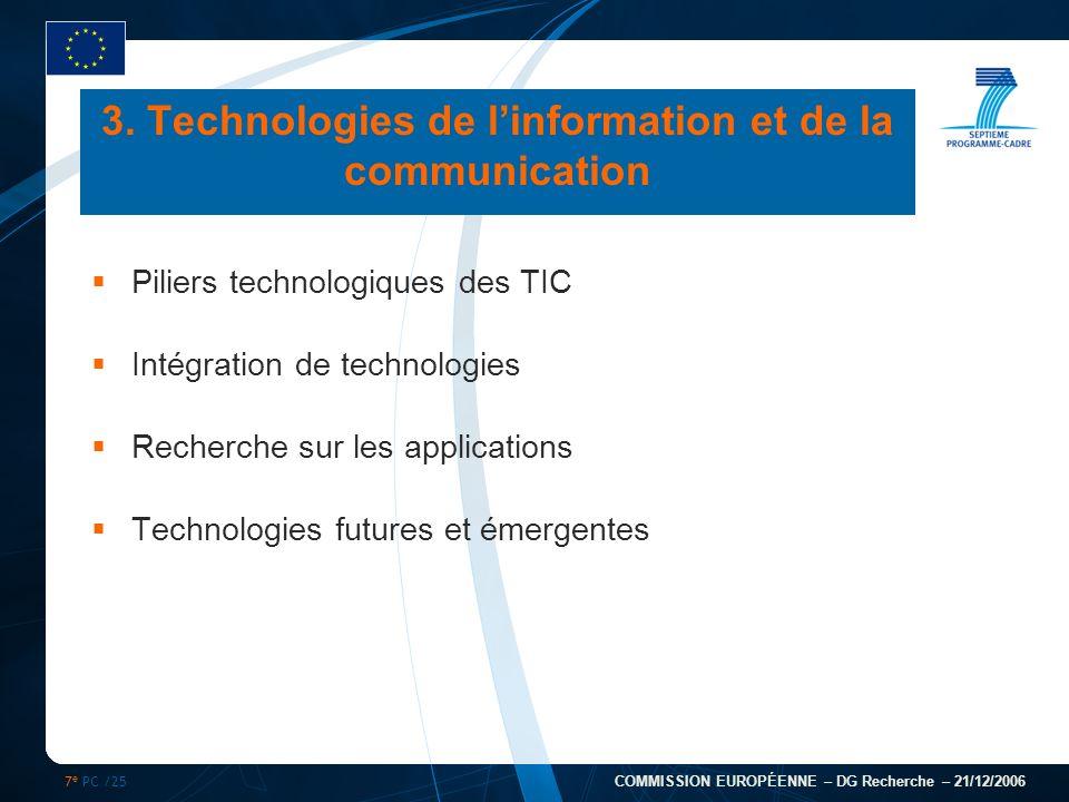 7 e PC /25 COMMISSION EUROPÉENNE – DG Recherche – 21/12/2006 Piliers technologiques des TIC Intégration de technologies Recherche sur les applications