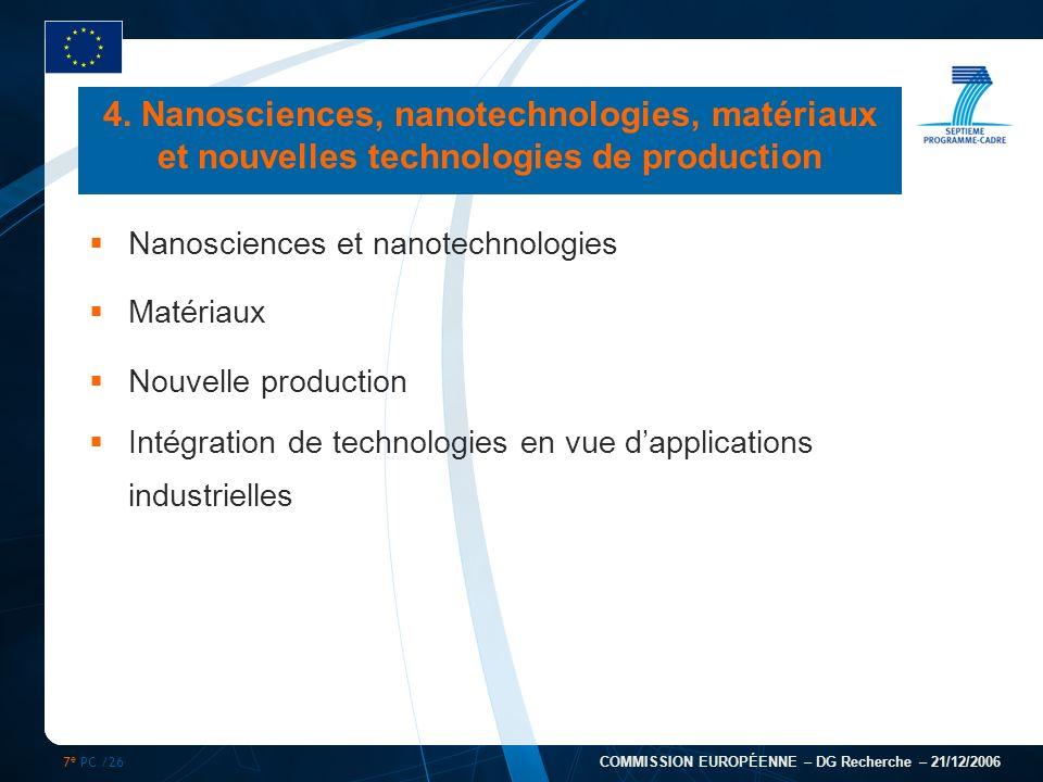 7 e PC /26 COMMISSION EUROPÉENNE – DG Recherche – 21/12/2006 4. Nanosciences, nanotechnologies, matériaux et nouvelles technologies de production Nano
