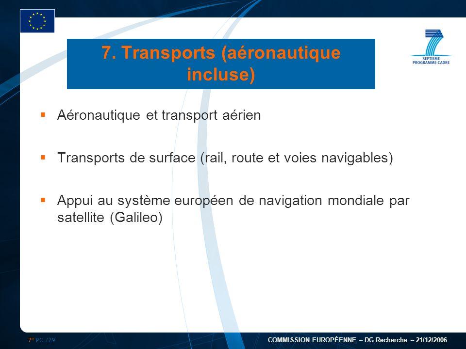 7 e PC /29 COMMISSION EUROPÉENNE – DG Recherche – 21/12/2006 7. Transports (aéronautique incluse) Aéronautique et transport aérien Transports de surfa