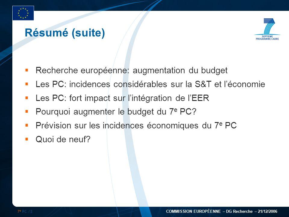 7 e PC /3 COMMISSION EUROPÉENNE – DG Recherche – 21/12/2006 Résumé (suite) Recherche européenne: augmentation du budget Les PC: incidences considérabl