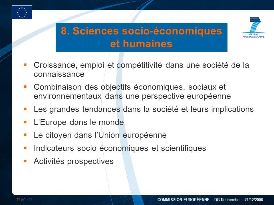 7 e PC /30 COMMISSION EUROPÉENNE – DG Recherche – 21/12/2006 8. Sciences socio-économiques et humaines Croissance, emploi et compétitivité dans une so