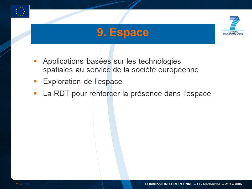 7 e PC /31 COMMISSION EUROPÉENNE – DG Recherche – 21/12/2006 Applications basées sur les technologies spatiales au service de la société européenne Ex