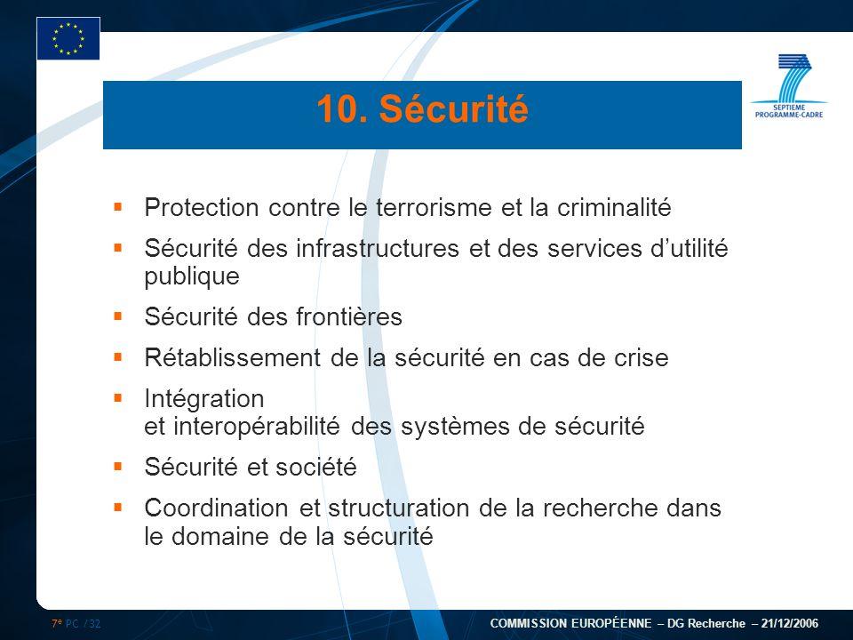 7 e PC /32 COMMISSION EUROPÉENNE – DG Recherche – 21/12/2006 10. Sécurité Protection contre le terrorisme et la criminalité Sécurité des infrastructur