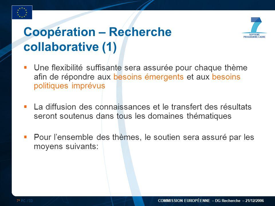 7 e PC /33 COMMISSION EUROPÉENNE – DG Recherche – 21/12/2006 Coopération – Recherche collaborative (1) Une flexibilité suffisante sera assurée pour ch