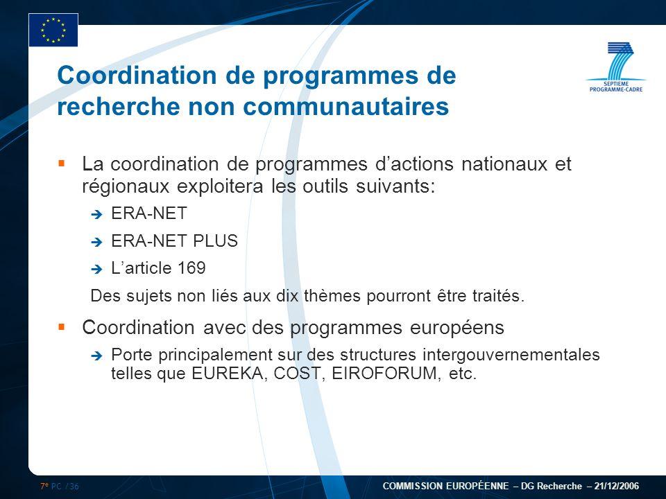 7 e PC /36 COMMISSION EUROPÉENNE – DG Recherche – 21/12/2006 Coordination de programmes de recherche non communautaires La coordination de programmes