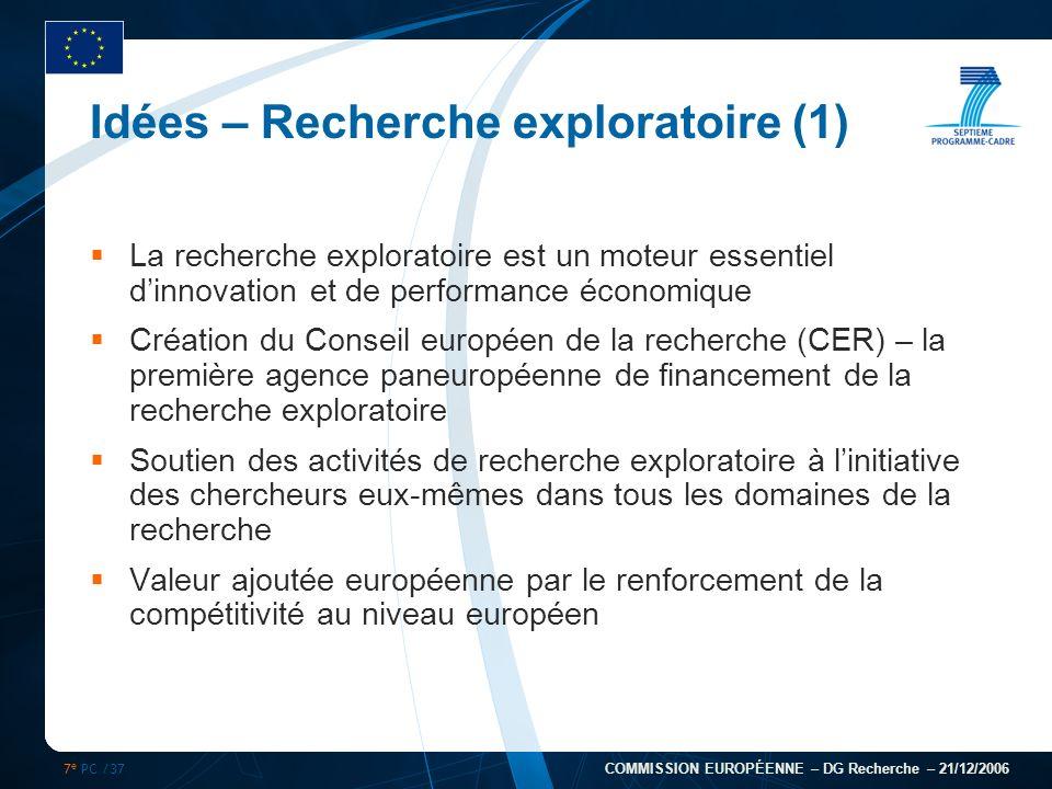 7 e PC /37 COMMISSION EUROPÉENNE – DG Recherche – 21/12/2006 Idées – Recherche exploratoire (1) La recherche exploratoire est un moteur essentiel dinn