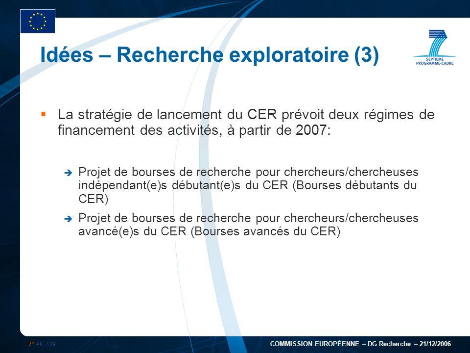 7 e PC /39 COMMISSION EUROPÉENNE – DG Recherche – 21/12/2006 Idées – Recherche exploratoire (3) La stratégie de lancement du CER prévoit deux régimes