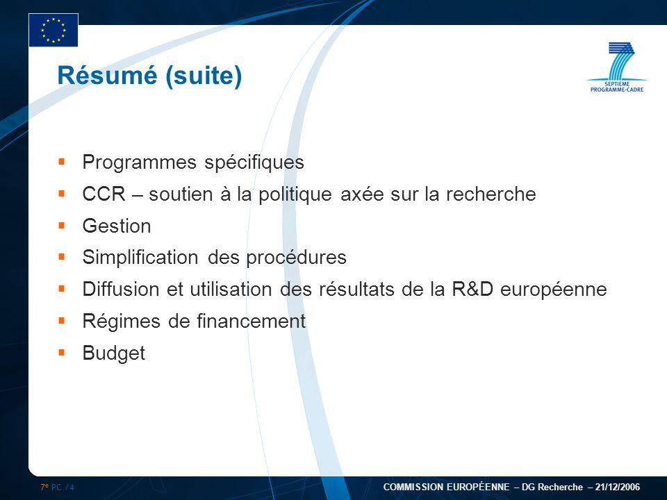 7 e PC /4 COMMISSION EUROPÉENNE – DG Recherche – 21/12/2006 Résumé (suite) Programmes spécifiques CCR – soutien à la politique axée sur la recherche G