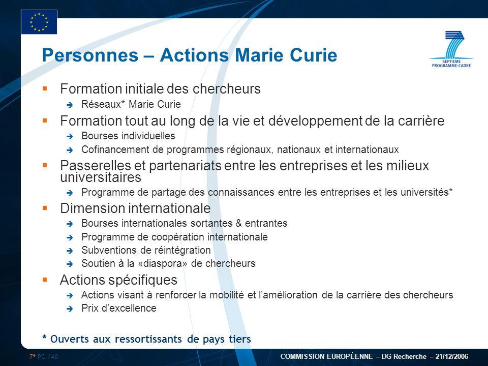 7 e PC /40 COMMISSION EUROPÉENNE – DG Recherche – 21/12/2006 * Ouverts aux ressortissants de pays tiers Personnes – Actions Marie Curie Formation init