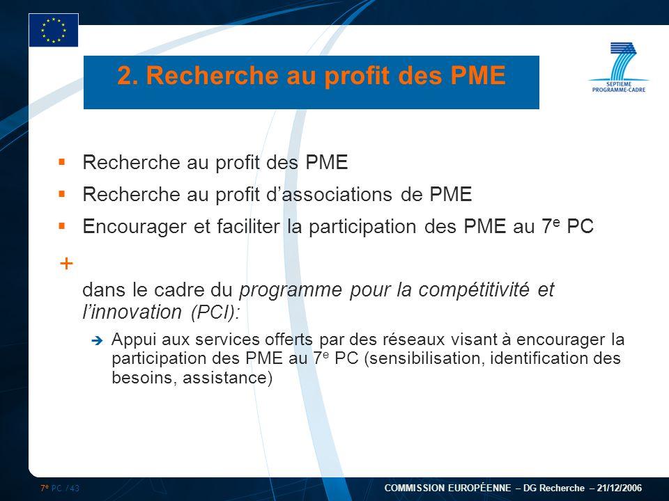 7 e PC /43 COMMISSION EUROPÉENNE – DG Recherche – 21/12/2006 2. Recherche au profit des PME Recherche au profit des PME Recherche au profit dassociati