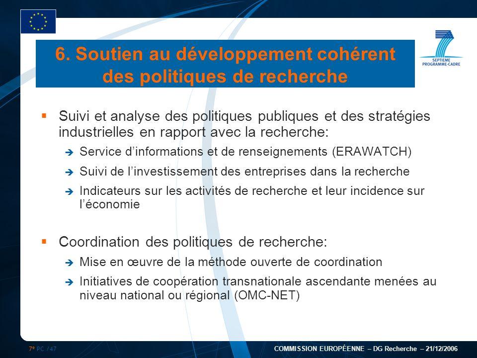 7 e PC /47 COMMISSION EUROPÉENNE – DG Recherche – 21/12/2006 Suivi et analyse des politiques publiques et des stratégies industrielles en rapport avec