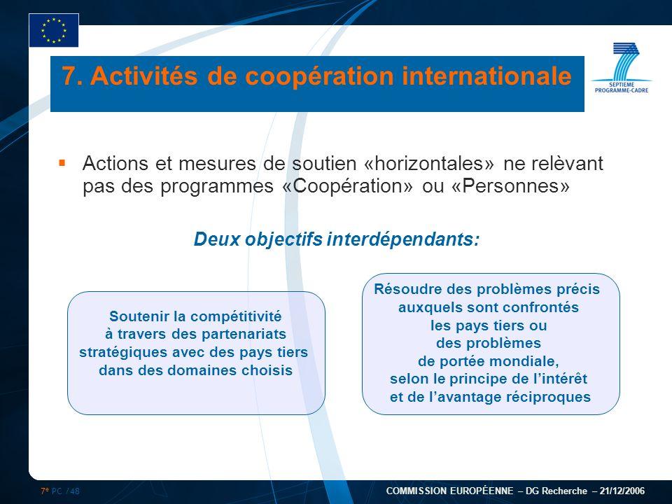 7 e PC /48 COMMISSION EUROPÉENNE – DG Recherche – 21/12/2006 7. Activités de coopération internationale Actions et mesures de soutien «horizontales» n