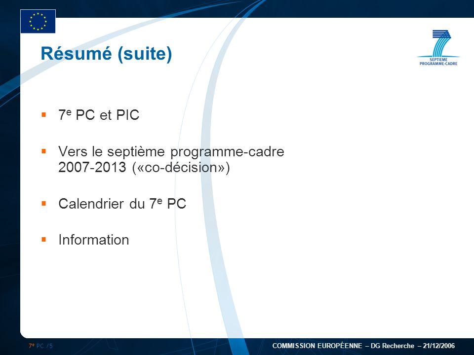 7 e PC /5 COMMISSION EUROPÉENNE – DG Recherche – 21/12/2006 Résumé (suite) 7 e PC et PIC Vers le septième programme-cadre 2007-2013 («co-décision») Ca