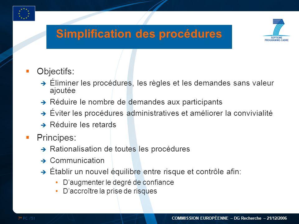 7 e PC /51 COMMISSION EUROPÉENNE – DG Recherche – 21/12/2006 Simplification des procédures Objectifs: Éliminer les procédures, les règles et les deman