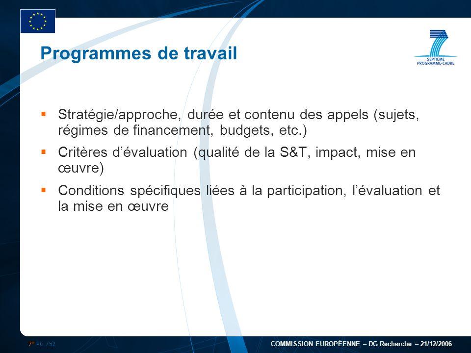 7 e PC /52 COMMISSION EUROPÉENNE – DG Recherche – 21/12/2006 Programmes de travail Stratégie/approche, durée et contenu des appels (sujets, régimes de