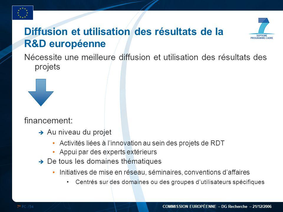7 e PC /54 COMMISSION EUROPÉENNE – DG Recherche – 21/12/2006 Diffusion et utilisation des résultats de la R&D européenne Nécessite une meilleure diffu