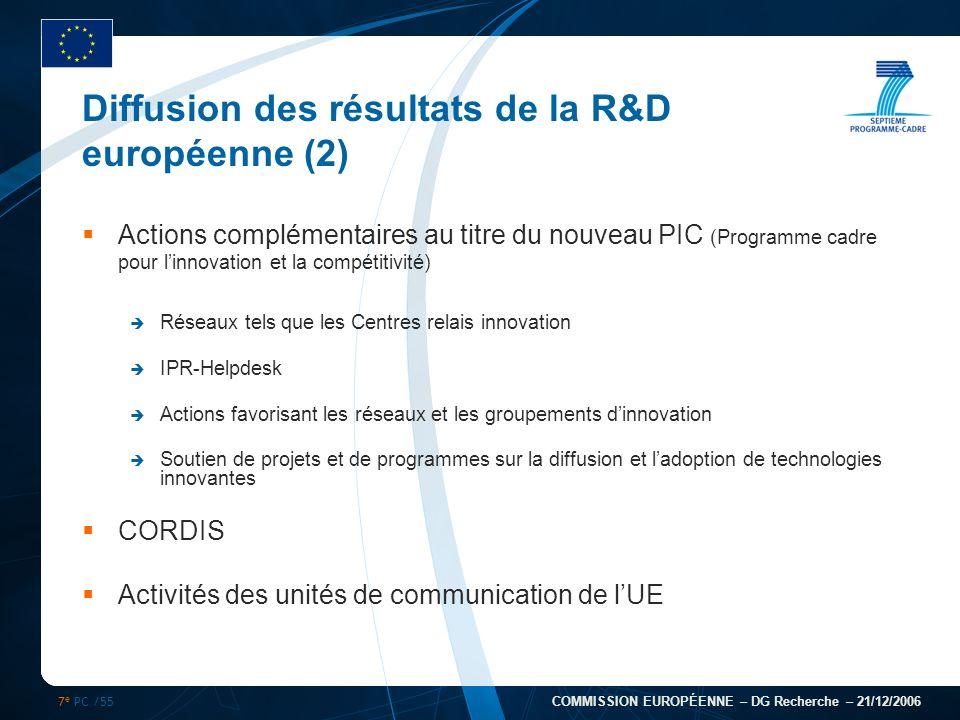 7 e PC /55 COMMISSION EUROPÉENNE – DG Recherche – 21/12/2006 Diffusion des résultats de la R&D européenne (2) Actions complémentaires au titre du nouv