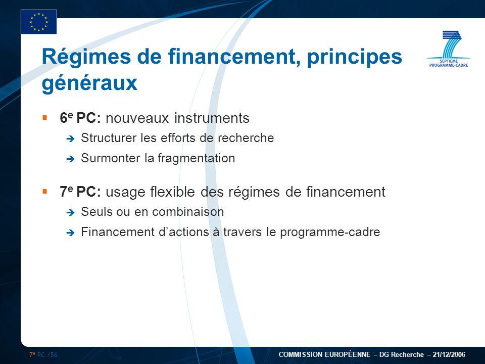 7 e PC /56 COMMISSION EUROPÉENNE – DG Recherche – 21/12/2006 Régimes de financement, principes généraux 6 e PC: nouveaux instruments Structurer les ef