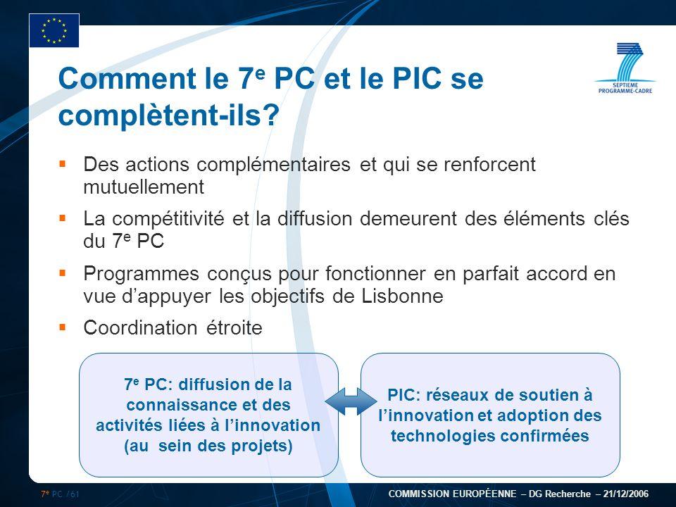7 e PC /61 COMMISSION EUROPÉENNE – DG Recherche – 21/12/2006 Comment le 7 e PC et le PIC se complètent-ils? Des actions complémentaires et qui se renf