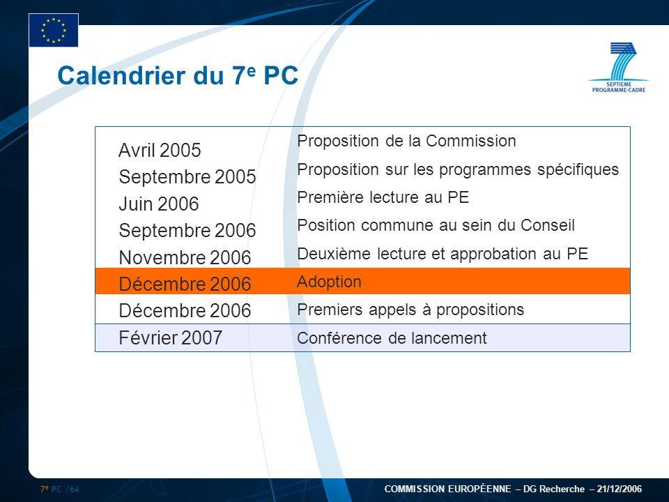 7 e PC /64 COMMISSION EUROPÉENNE – DG Recherche – 21/12/2006 Calendrier du 7 e PC Avril 2005 Septembre 2005 Juin 2006 Septembre 2006 Novembre 2006 Déc