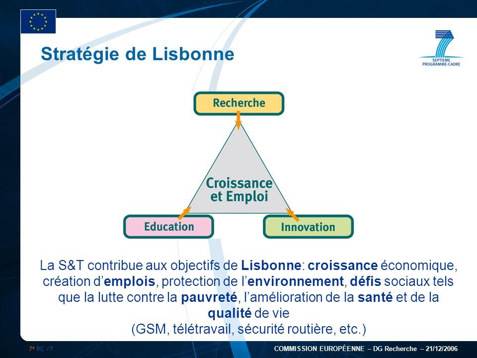 7 e PC /7 COMMISSION EUROPÉENNE – DG Recherche – 21/12/2006 Stratégie de Lisbonne La S&T contribue aux objectifs de Lisbonne: croissance économique, c