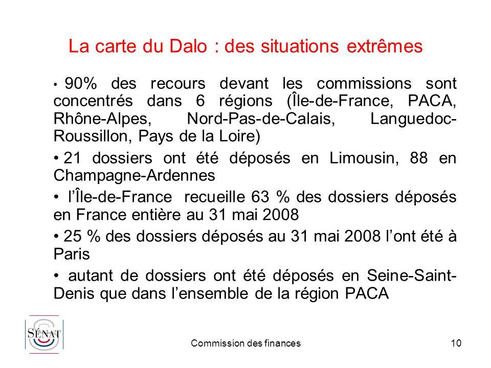 Commission des finances10 La carte du Dalo : des situations extrêmes 90% des recours devant les commissions sont concentrés dans 6 régions (Île-de-Fra