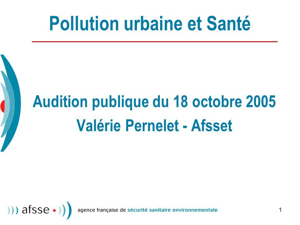 1 Pollution urbaine et Santé Audition publique du 18 octobre 2005 Valérie Pernelet - Afsset