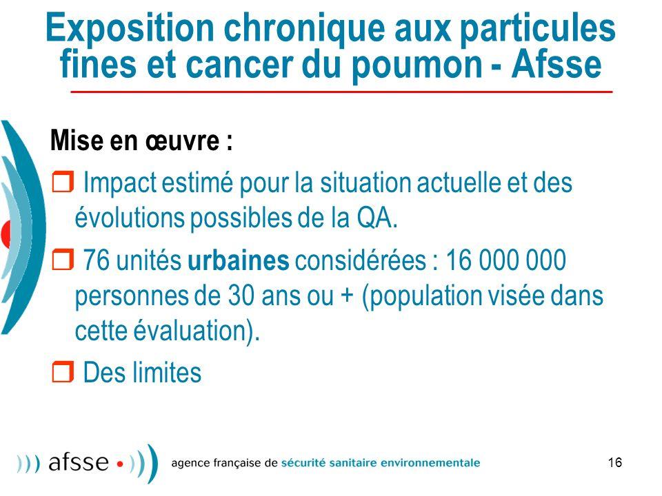 16 Exposition chronique aux particules fines et cancer du poumon - Afsse Mise en œuvre : Impact estimé pour la situation actuelle et des évolutions possibles de la QA.
