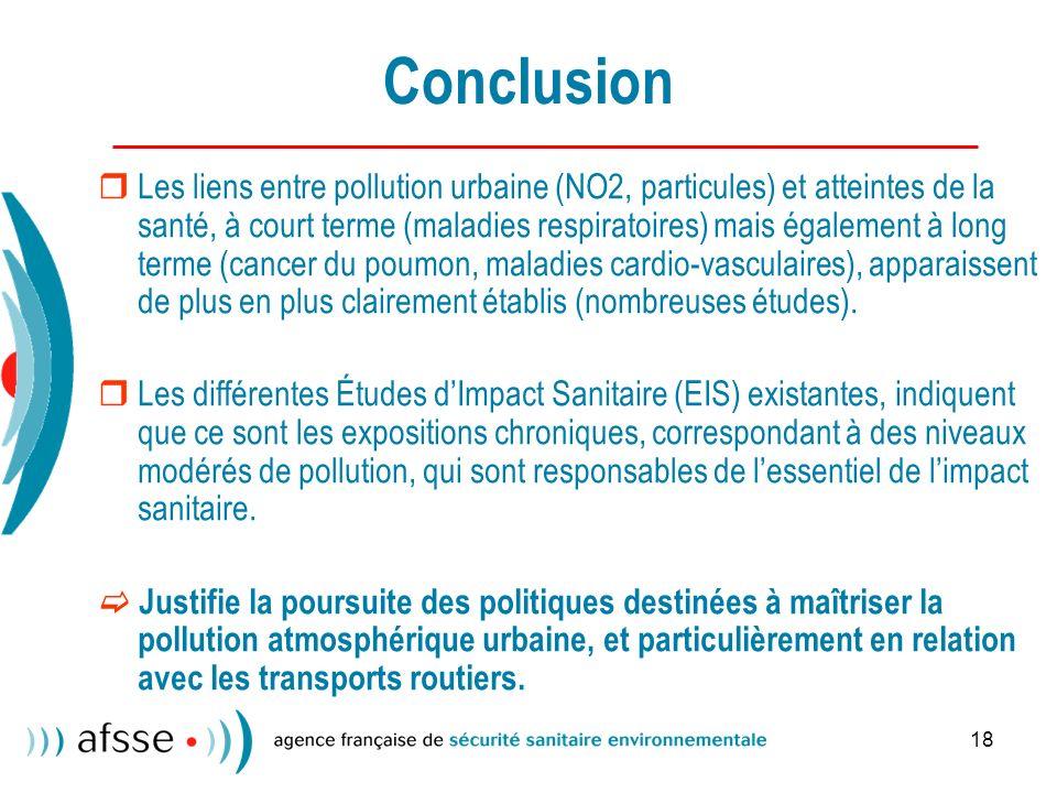 18 Conclusion Les liens entre pollution urbaine (NO2, particules) et atteintes de la santé, à court terme (maladies respiratoires) mais également à long terme (cancer du poumon, maladies cardio-vasculaires), apparaissent de plus en plus clairement établis (nombreuses études).
