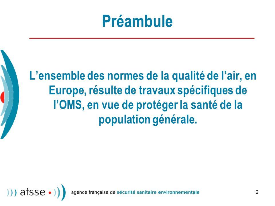 2 Préambule Lensemble des normes de la qualité de lair, en Europe, résulte de travaux spécifiques de lOMS, en vue de protéger la santé de la population générale.