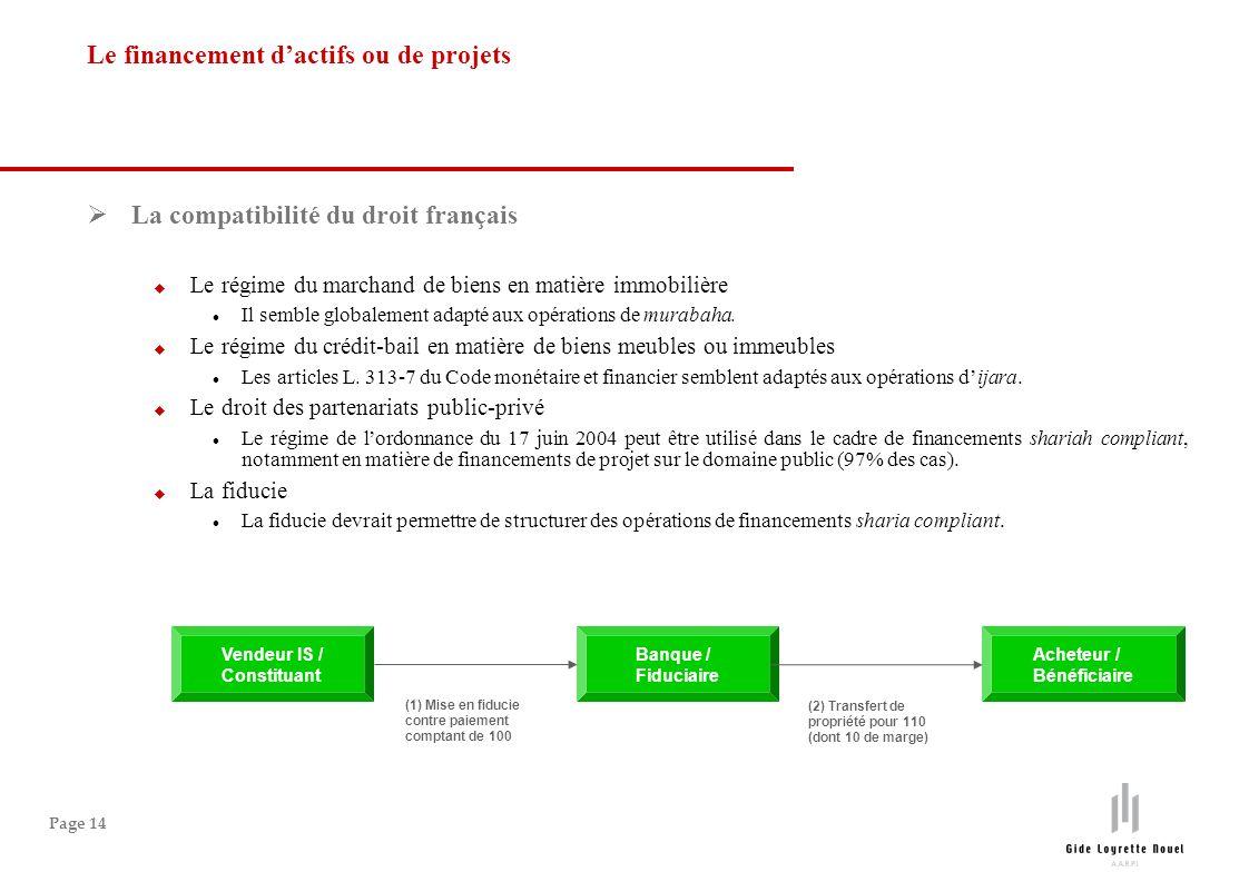 Page 14 La compatibilité du droit français Le régime du marchand de biens en matière immobilière Il semble globalement adapté aux opérations de murabaha.
