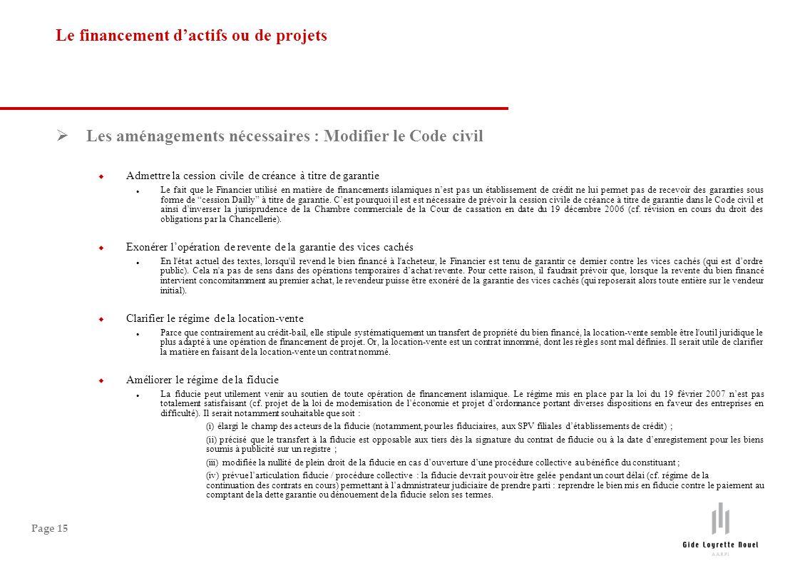 Page 15 Les aménagements nécessaires : Modifier le Code civil Admettre la cession civile de créance à titre de garantie Le fait que le Financier utili
