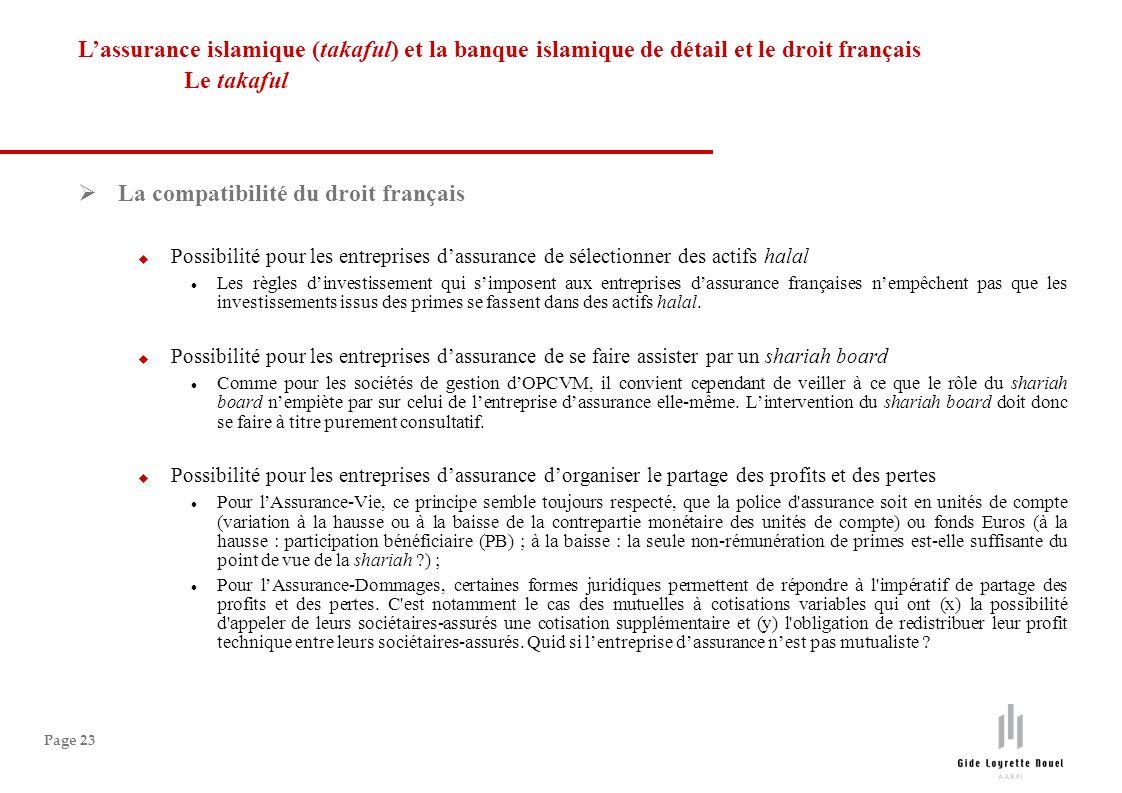 Page 23 La compatibilité du droit français Possibilité pour les entreprises dassurance de sélectionner des actifs halal Les règles dinvestissement qui simposent aux entreprises dassurance françaises nempêchent pas que les investissements issus des primes se fassent dans des actifs halal.