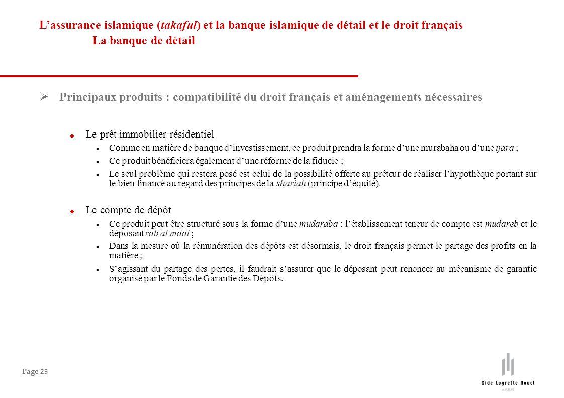 Page 25 Principaux produits : compatibilité du droit français et aménagements nécessaires Le prêt immobilier résidentiel Comme en matière de banque di