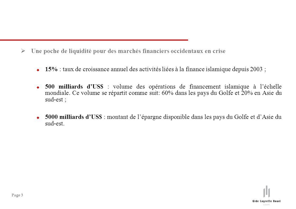 Page 3 Une poche de liquidité pour des marchés financiers occidentaux en crise 15% : taux de croissance annuel des activités liées à la finance islami