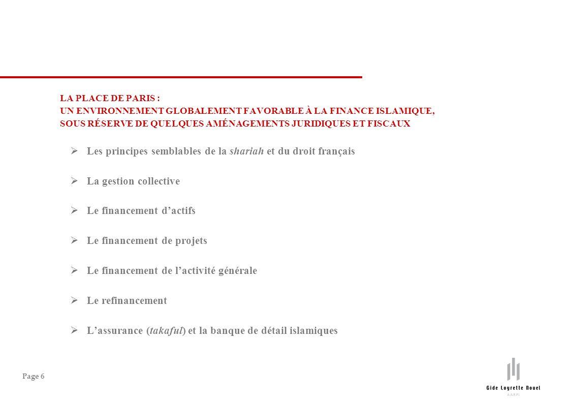 Page 6 LA PLACE DE PARIS : UN ENVIRONNEMENT GLOBALEMENT FAVORABLE À LA FINANCE ISLAMIQUE, SOUS RÉSERVE DE QUELQUES AMÉNAGEMENTS JURIDIQUES ET FISCAUX Les principes semblables de la shariah et du droit français La gestion collective Le financement dactifs Le financement de projets Le financement de lactivité générale Le refinancement Lassurance (takaful) et la banque de détail islamiques