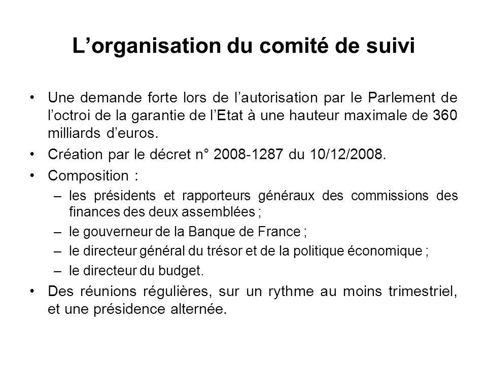 Lorganisation du comité de suivi Une demande forte lors de lautorisation par le Parlement de loctroi de la garantie de lEtat à une hauteur maximale de 360 milliards deuros.