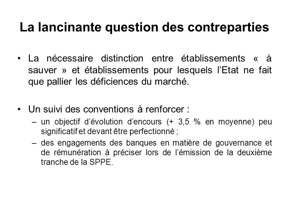 La lancinante question des contreparties La nécessaire distinction entre établissements « à sauver » et établissements pour lesquels lEtat ne fait que pallier les déficiences du marché.