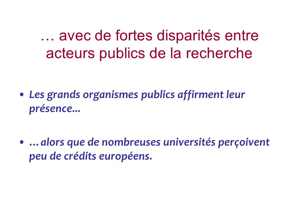 … avec de fortes disparités entre acteurs publics de la recherche Les grands organismes publics affirment leur présence... …alors que de nombreuses un