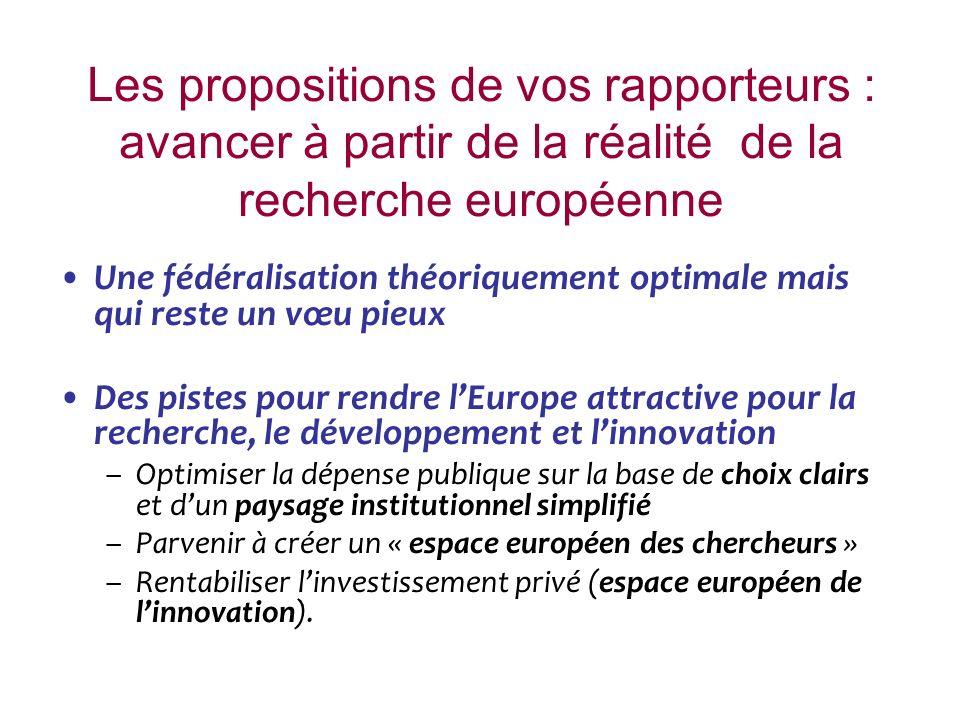 Les propositions de vos rapporteurs : avancer à partir de la réalité de la recherche européenne Une fédéralisation théoriquement optimale mais qui res
