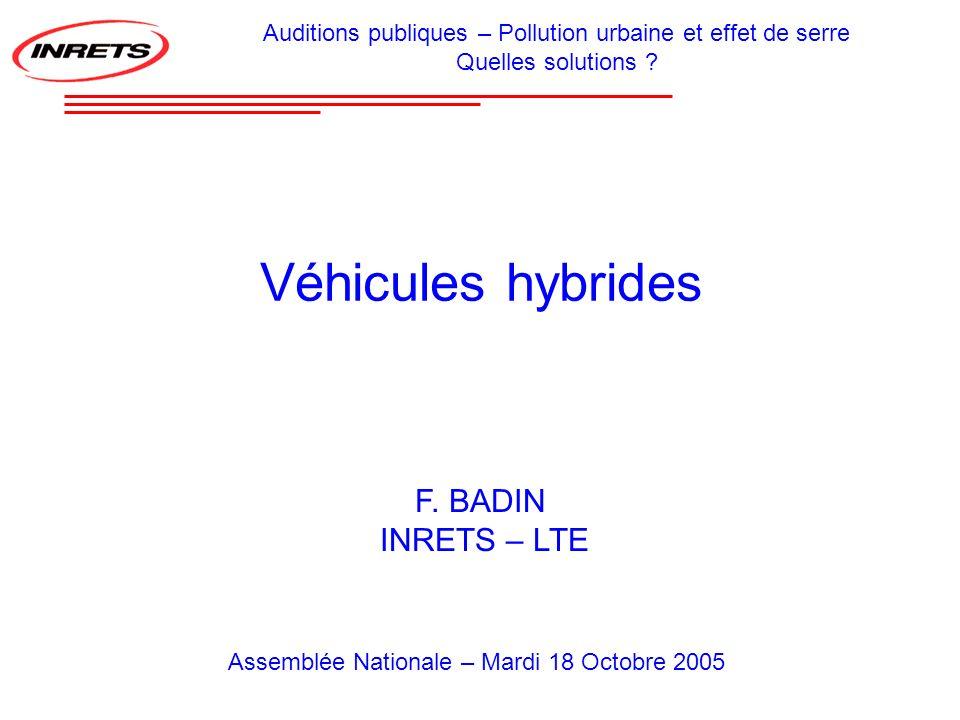 Véhicules hybrides F. BADIN INRETS – LTE Auditions publiques – Pollution urbaine et effet de serre Quelles solutions ? Assemblée Nationale – Mardi 18