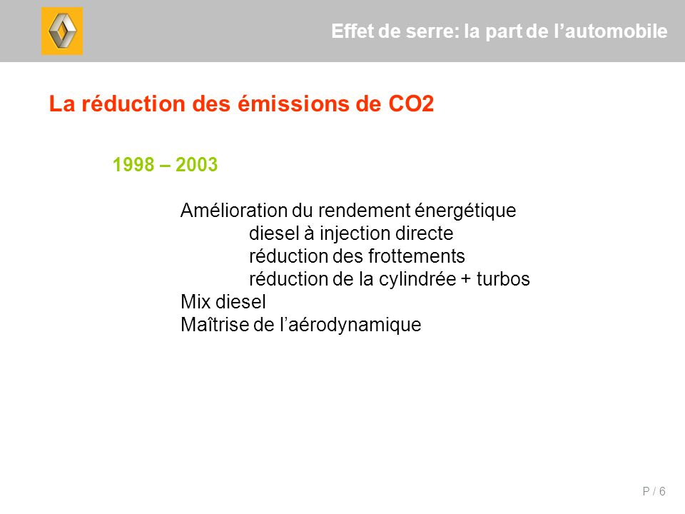 P / 6 Effet de serre: la part de lautomobile La réduction des émissions de CO2 1998 – 2003 Amélioration du rendement énergétique diesel à injection directe réduction des frottements réduction de la cylindrée + turbos Mix diesel Maîtrise de laérodynamique