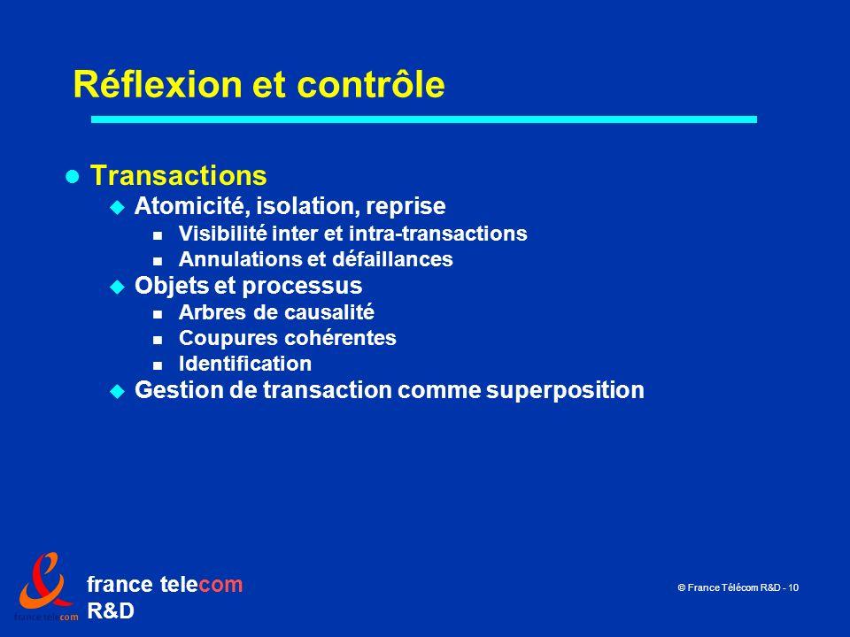 france telecom R&D © France Télécom R&D - 10 Réflexion et contrôle Transactions Atomicité, isolation, reprise Visibilité inter et intra-transactions A