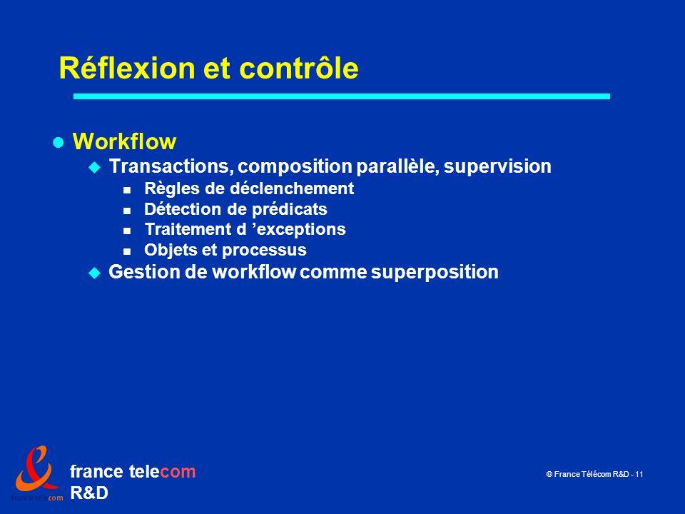france telecom R&D © France Télécom R&D - 11 Réflexion et contrôle Workflow Transactions, composition parallèle, supervision Règles de déclenchement D