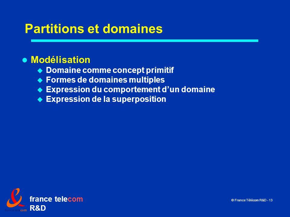 france telecom R&D © France Télécom R&D - 13 Partitions et domaines Modélisation Domaine comme concept primitif Formes de domaines multiples Expressio