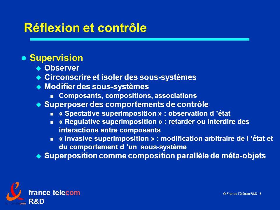 france telecom R&D © France Télécom R&D - 8 Réflexion et contrôle Supervision Observer Circonscrire et isoler des sous-systèmes Modifier des sous-syst