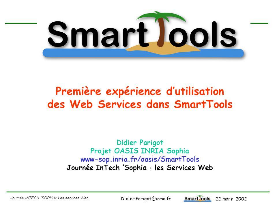 Journée INTECH SOPHIA: Les services Web - 22 mars 2002 Didier.Parigot@inria.fr Conclusion Tournant en terme de technologie: MDA 4Web Services : format des données neutre 4XML : syntaxe abstraite (indépendant dun langage) 4Modèle (indépendant dune technologie) Pour des démonstrations de SmartTools 4voir le site http://www-sop.inria.fr/oasis/SmartTools/ 4email : Didier.Parigot@inria.fr