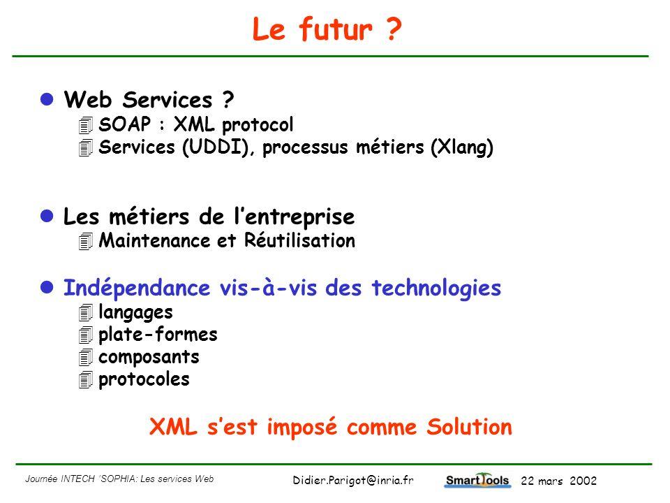 Journée INTECH SOPHIA: Les services Web - 22 mars 2002 Didier.Parigot@inria.fr Le futur ? Web Services ? 4SOAP : XML protocol 4Services (UDDI), proces
