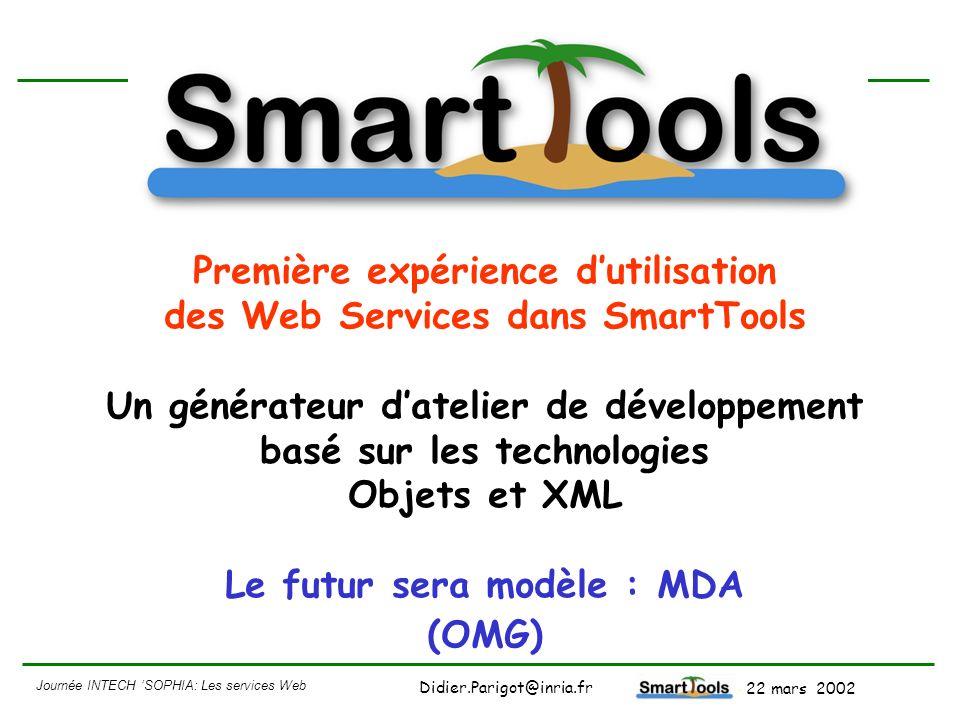 Journée INTECH SOPHIA: Les services Web - 22 mars 2002 Didier.Parigot@inria.fr Plate-forme ouverte : SmartTools Atelier de développement SmartTools manipulation de programmes.Net C# Client .